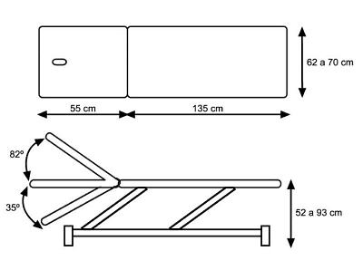 Canapea de examinare hidraulica 2 sectiuni cu inclinare spatar in negativ